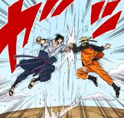 Naruto y Sasuke empiezan a luchar