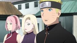 Sakura, Ino e Naruto assistono alla scena
