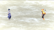 Naruto y Sasuke hablando en un espacio subconsciente