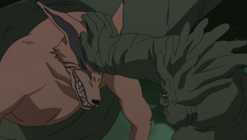 Hashirama's use directly on a tailed beast.
