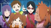 Sumire, Namida Wasabi, Sarada e Chōchō tirando foto em viagem