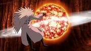 Madara es golpeado por el Rasen Shuriken de Lava