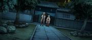 Minato e Hiruzen saliendo del distrito Uchiha