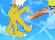 Naruto impacta su Rasengan en el Ave Gigante