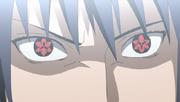 Primera aparición del Mangekyō Sharingan Eterno de Sasuke