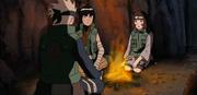 Rin junto a Kakashi y Guy