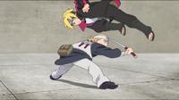 Yurui tentando atacar Boruto com suas espadas