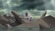 Sasuke se levanta tras ganar la batalla