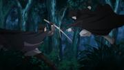Un clon de Shin enfrentando a Sasuke