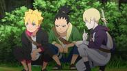 Boruto, Shikadai e Inojin escondidos