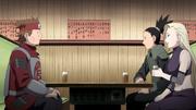 Chōji, Shikamaru e Ino conversando no Yakiniku