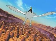 Deidara sobrevuela Sunagakure en su Pájaro de Arcilla