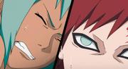 Gaara y Fū sufriendo a causa de las Cadenas