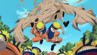 Naruto's clones vs Gaara