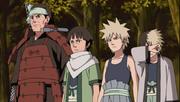 Butsuma con sus hijos en el funeral de Kawarama