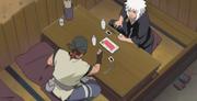O corpo anterior do Caminho Preta num restaurante com Jiraiya
