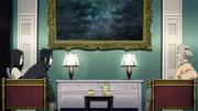 Orochimaru e Sasuke conversando com Oyashiro