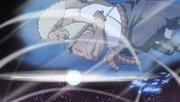 El Tercer Raikage esquivando el Rasen Shuriken