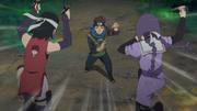 Sumire y Sarada se enfrentan a Konohamaru