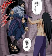 Madara atraviesa a Sasuke con su Chokutō Manga