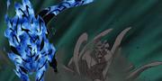 Gyūki llega al campo de batalla de las Bestias con Cola