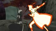 Minato detiene a Obito