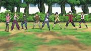 A turma lançando shuriken