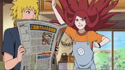 Kushina se irrita com Minato e Naruto