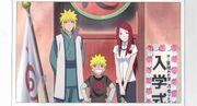 Menma con su familia al entrar en la Academia Ninja