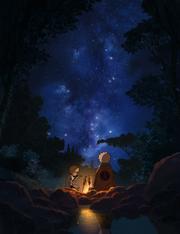 Naruto e Hiruzen comendo juntos