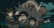 Rock Lee y Might Guy son golpeados por las armas del Sabio