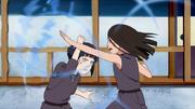 Hanabi haciendo uso del Puño Suave