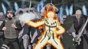 Mifune, Kankurō y Naruto peleando juntos