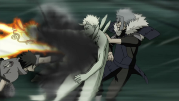 …he and Tobirama switch places to land a surprise attack on their target.
