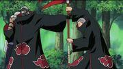 Hidan y Kakuzu peleando