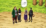 Choji, Ino, Sai e Karui esperando por seus filhos