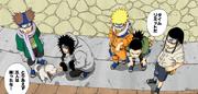 O Time de Resgate de Sasuke no portão da vila (Mangá Colorido)