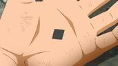 Kāma de Kawaki en forma de diamante negro en su palma
