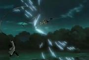 Naruto a punto de impactar su Rasengan sobre Shiin