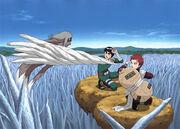 Rock Lee y Gaara se salvan después de la muerte de Kimimaro