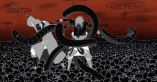 Itachi liberando a Sasuke de un Genjutsu