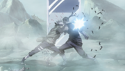 Kakashi pierces Zabuza