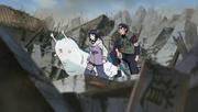 Ko, Hinata e Katsuyu observam Naruto vs Pain