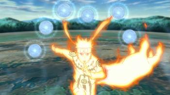 Naruto creates a number of Rasengan using chakra arms…