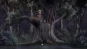 Adult Sasuke and Kid Naruto talking