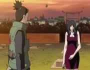 Shikamaru y Kurenai en la tumba de Asuma