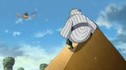 Gaara en medio de la lluvia de granizo se enfrenta a Gengetsu y a su Clon de Agua y Aceite