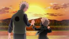 Sakumo con su hijo Kakashi