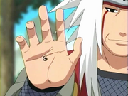 Jiraiya durante el entrenamiento de Naruto