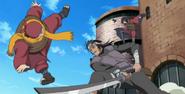 Ganryu atacando Kurotsuchi e Akatsuchi